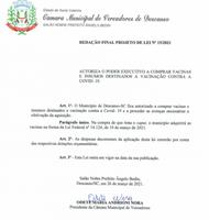 CÂMARA DE VEREADORES PROTOCOLA PROJETO DE LEI PARA COMPRA DE VACINAS