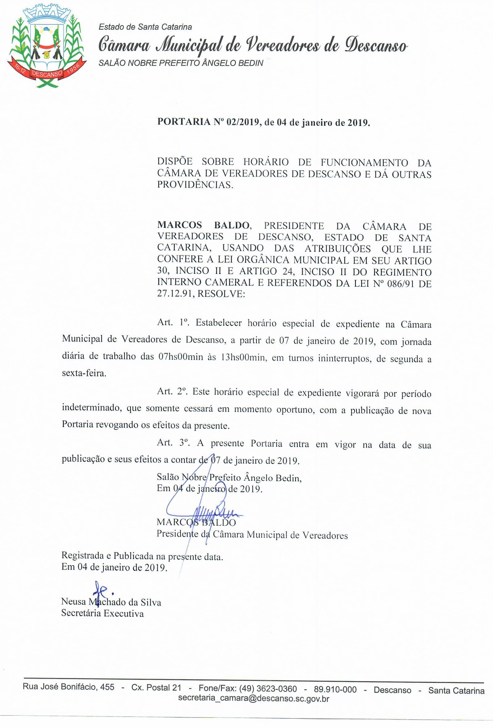 PORTARIA Nº 02/2019